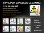 Free icons pack - Improper windows cleaning